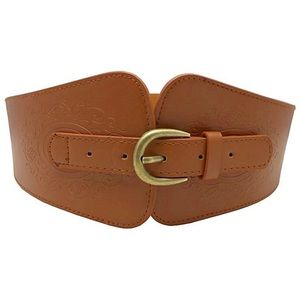 Just In🎉Faux Leather Camel Color Wide Belt